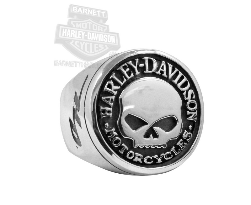 Harley-Davidson® Mens Circle Willie G Skull Silver Ring