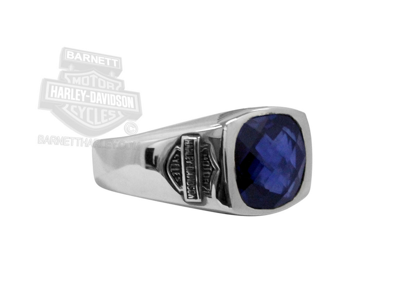 Harley-Davidson® Womens Big Jewel Sapphire Silver Ring
