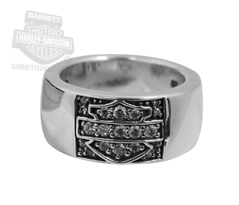 ** SIZE 6 ONLY ** Harley-Davidson® Womens Clear CZ Bar & Shield Silver Ring