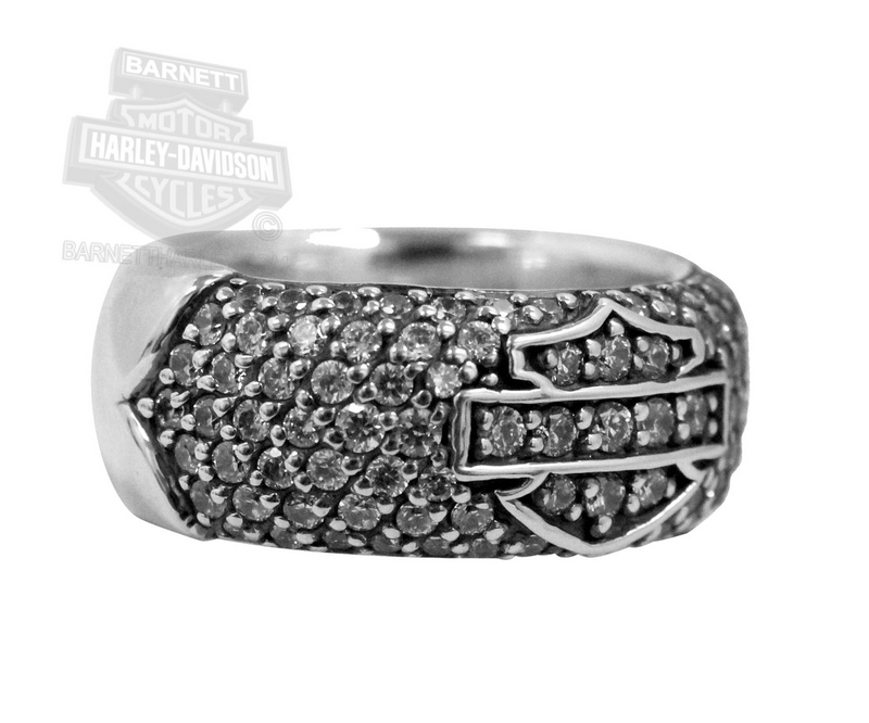Harley-Davidson® Womens Clear CZ covered with Open B&S Silver Ring