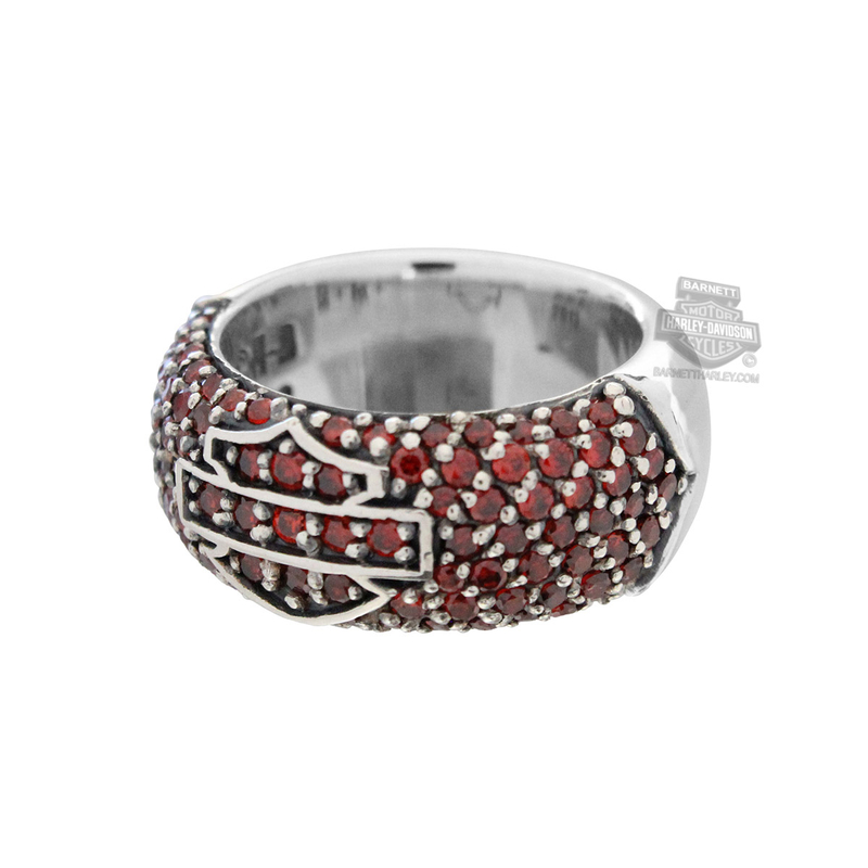 Harley-Davidson® Womens .925 Silver Garnet Rhinestones with B&S Logo Ring by Thierry Martino Jewelry