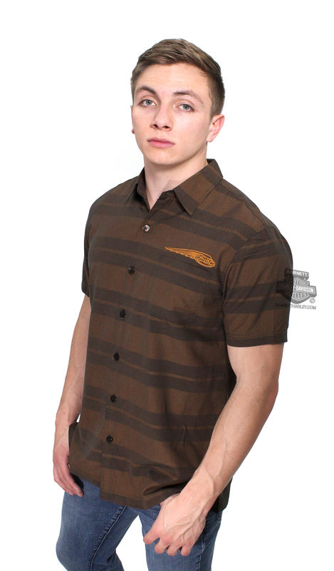 Harley-Davidson® Mens Stripe Out Winged Logo Black Short Sleeve Woven Shirt by Tori Richard®