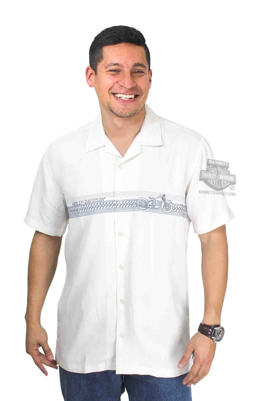 Harley-Davidson® Mens On Track Motorcycle Off White Short Sleeve Woven Shirt by Tori Richard®