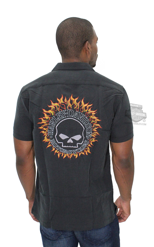 ** SMALL & BIG SIZES ONLY ** Harley-Davidson® Mens Headhunter Flaming Willie G Skull Black Short Sleeve Woven Shirt by Tori Rich