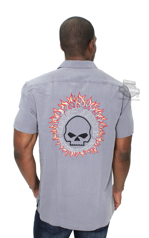 Harley-Davidson® Mens Headhunter Flaming Willie G Skull Grey Short Sleeve Woven Shirt by Tori Richard®