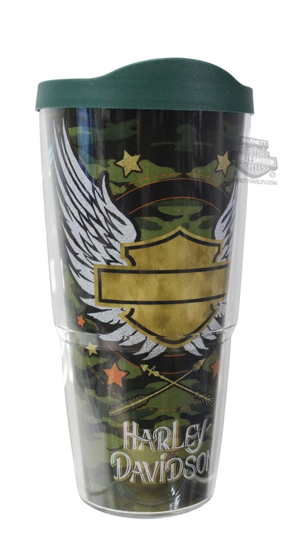 Harley-Davidson® Gold Camo Winged B&S Wrap 24 oz. Tervis Tumbler 24 oz Cup