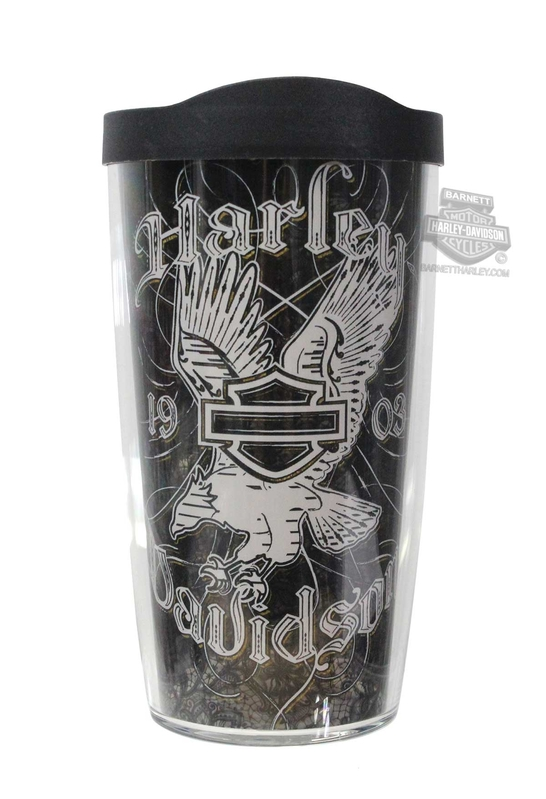 Harley-Davidson® Black Lace Eagle B&S Wrap 16 oz. Tervis Tumbler 16 oz Cup