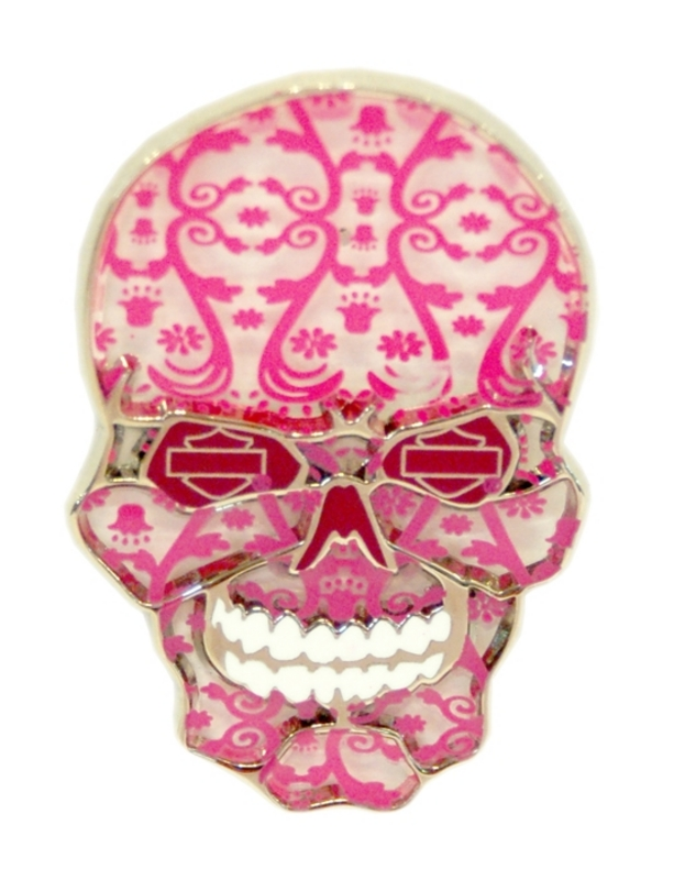 Harley-Davidson® Bar & Shield Lace Pink Skull Pin