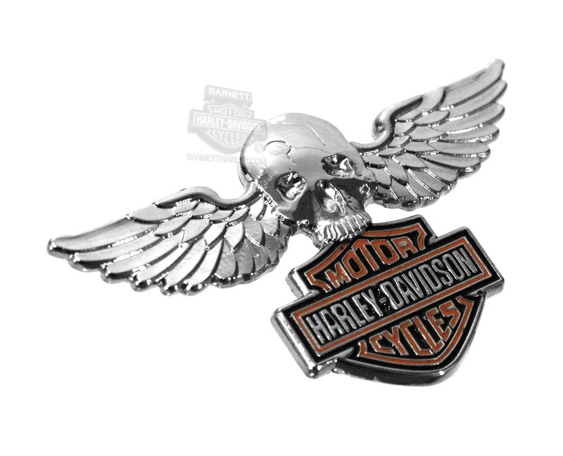 Harley-Davidson® Pin Skull W/Wings B&S