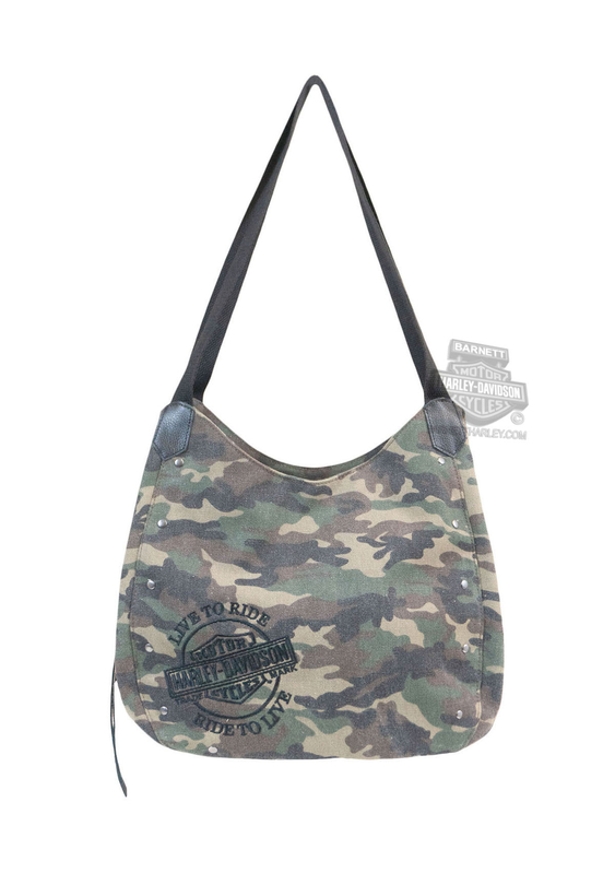 Harley-Davidson® Womens B&S Embroidery Canvas Camouflage Cotton Bucket Bag