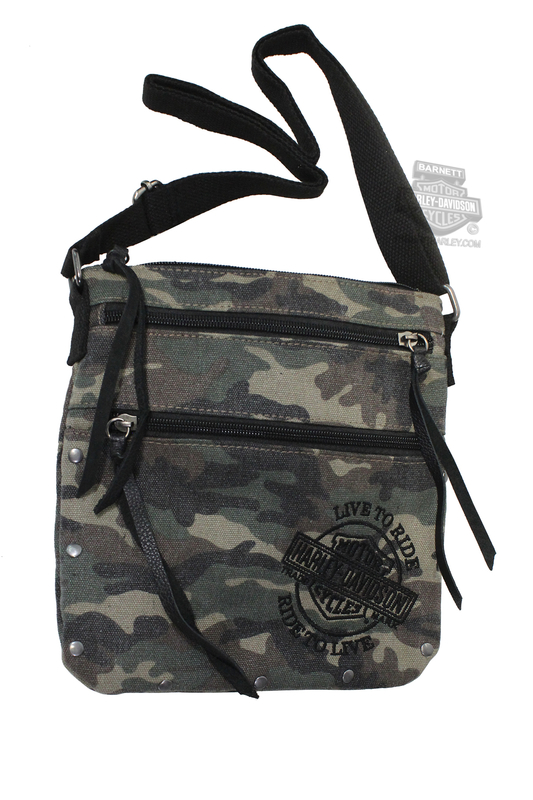 Harley-Davidson® Womens B&S Embroidery Canvas Crossbody Camouflage Cotton Purse