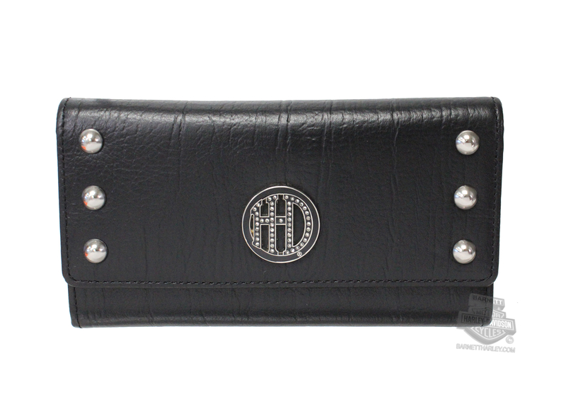 Harley-Davidson® Womens H-D Crystal with Studs Black Leather Trifold Wallet