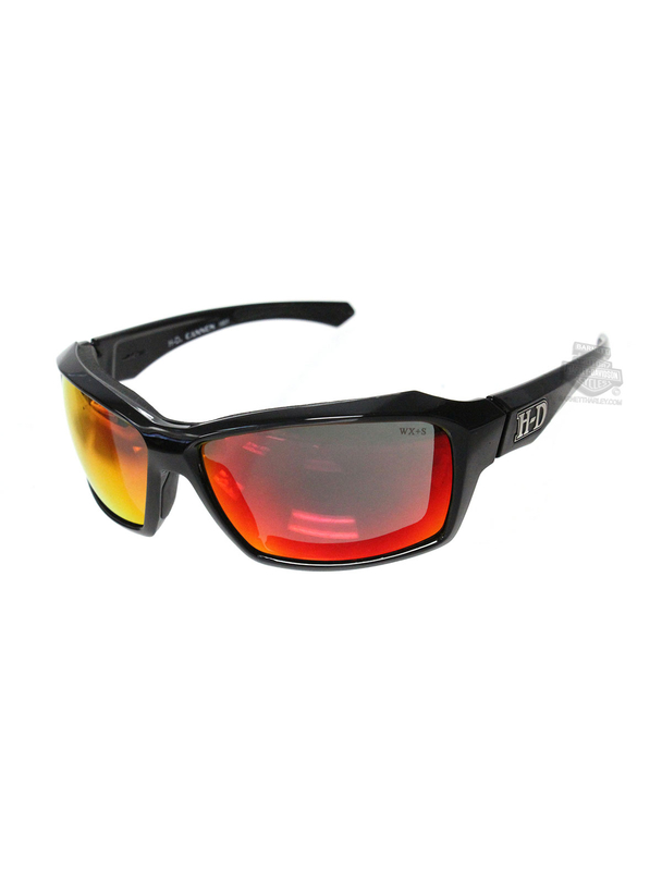 Harley-Davidson® HD Cannon Red Mirror Lens in a Gloss Black Frame Sunglasses by Wiley X®
