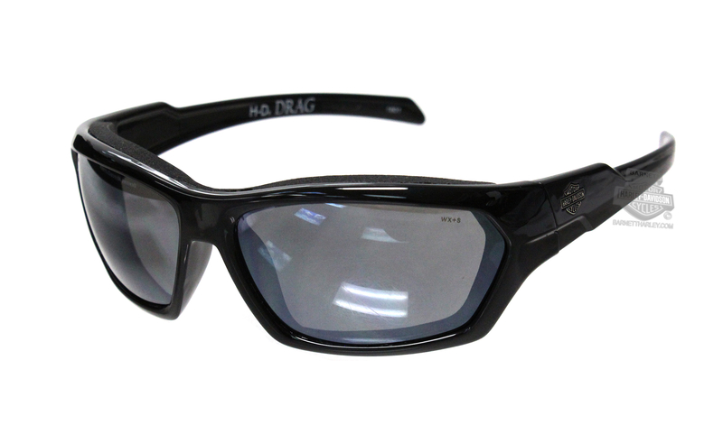 Harley-Davidson® HD Drag Silver Flash Smoke Grey Lens in a Gloss Black Frame Sunglasses by Wiley X®
