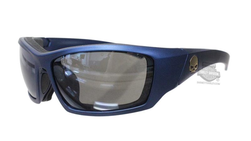 Harley-Davidson® HD Tat Smoke Grey Silver Flash Lens in a Matte Blue Frame by Wiley X® Sunglasses or Goggle
