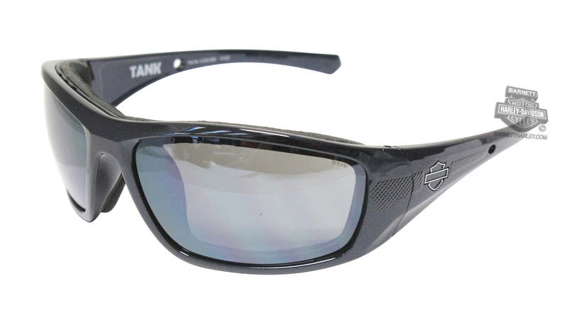 Harley-Davidson® HD Tank Silver Flash Grey Lens in a Big Blue Pearl Frame Sunglasses by Wiley X®
