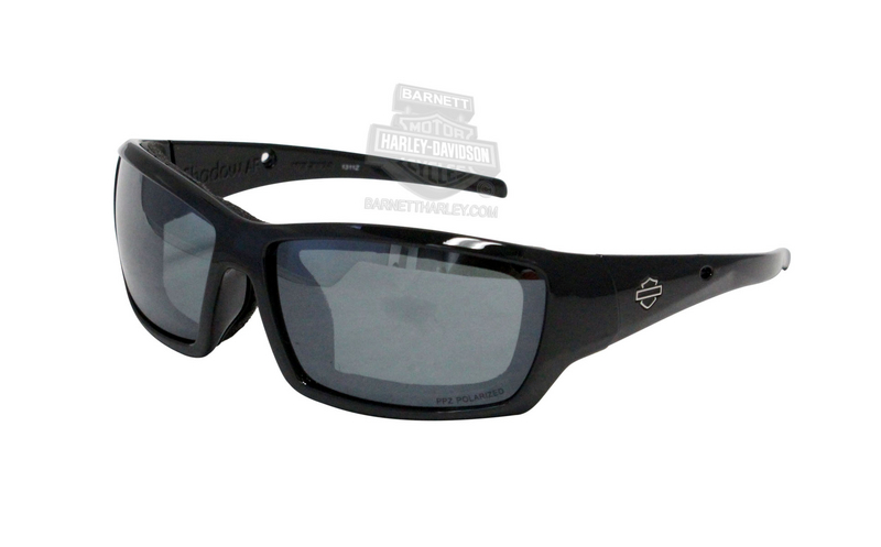 Harley-Davidson® Alternative Fit HD Shadow AF PPZ™ Partial Polarized Grey Silver Flash Lenses in a Gloss Black Frame Sunglasses