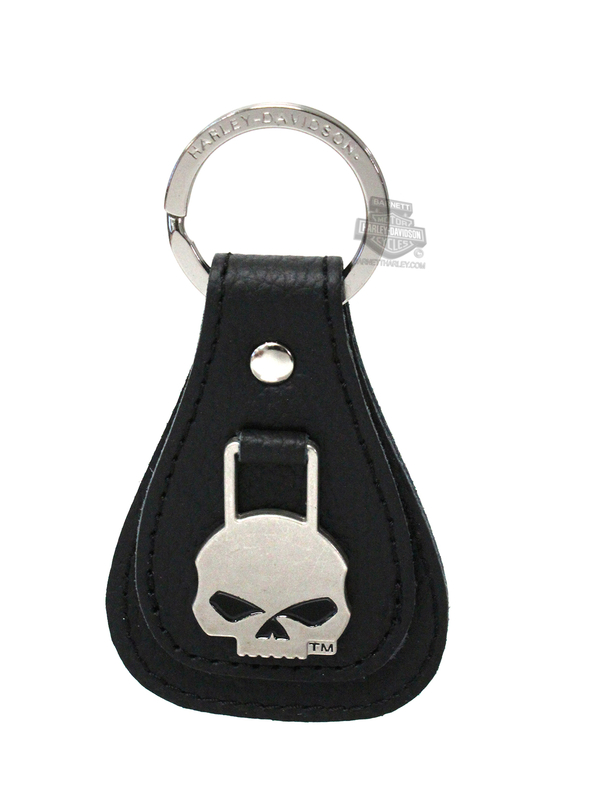 Harley-Davidson® Willie G Skull Medallion Black Leather Key-chain Fob XFL0023
