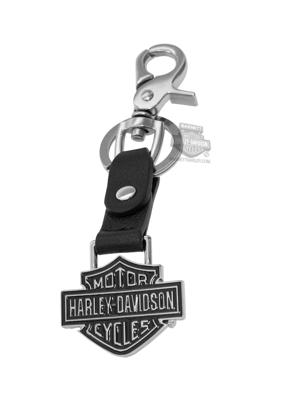 Harley-Davidson® Mens B&S Bottle Opener Black Leather Key Fob