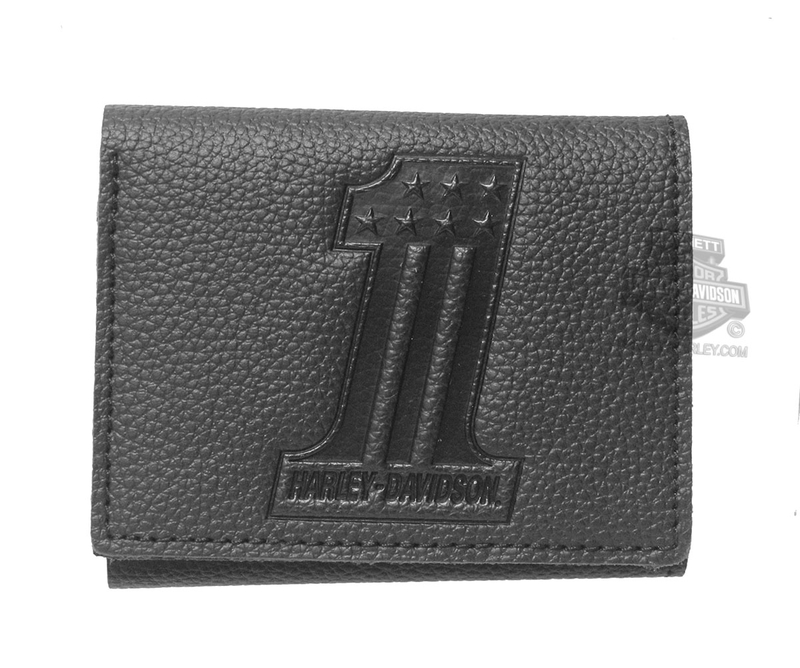 Harley-Davidson® Mens #1 Emboss Logo Black Leather Trifold Wallet