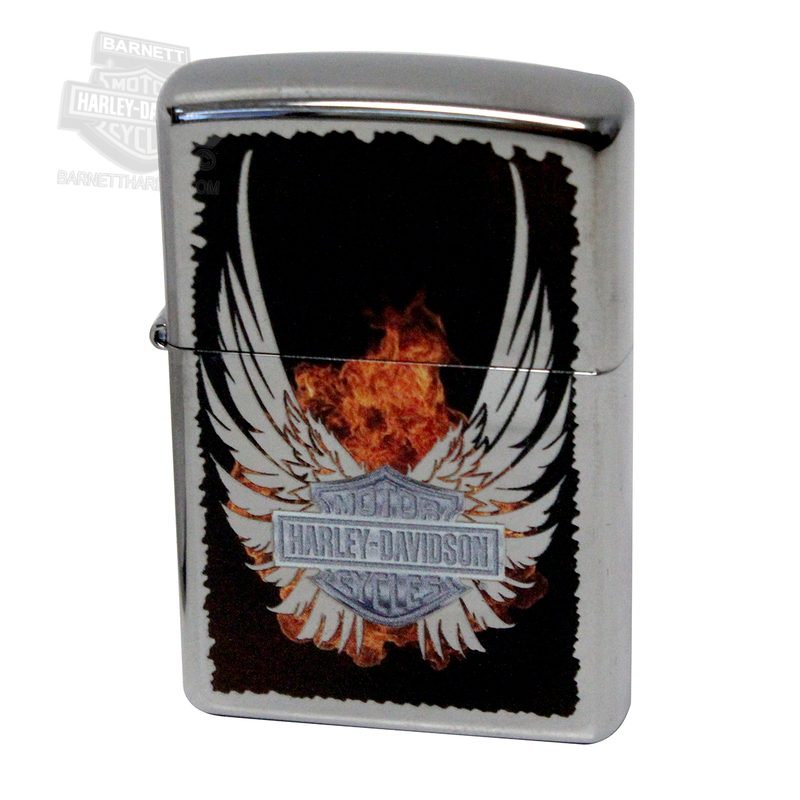 Harley-Davidson® Winged B&S with Flames High Polish Chrome Black Zippo Lighter