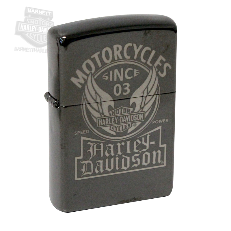 Harley-Davidson® Winged Trademark B&S Ebony™ Black Zippo Lighter