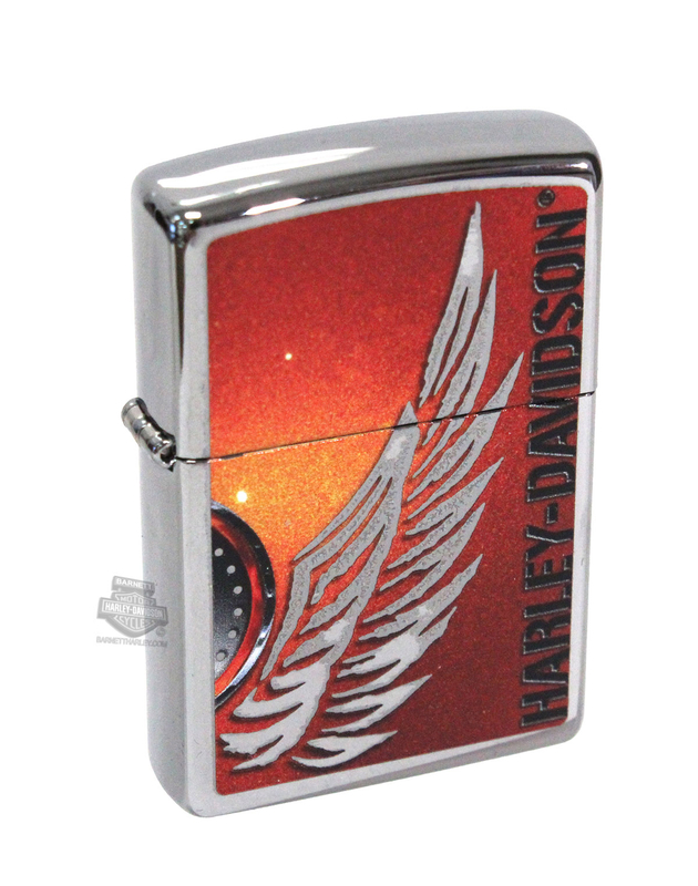 Harley-Davidson® Mens Silver Wing High Polish Chrome Zippo Lighter