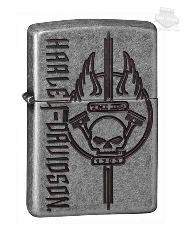Harley-Davidson® Mens Willie G Skull Armor™ Deep Carve Zippo Lighter