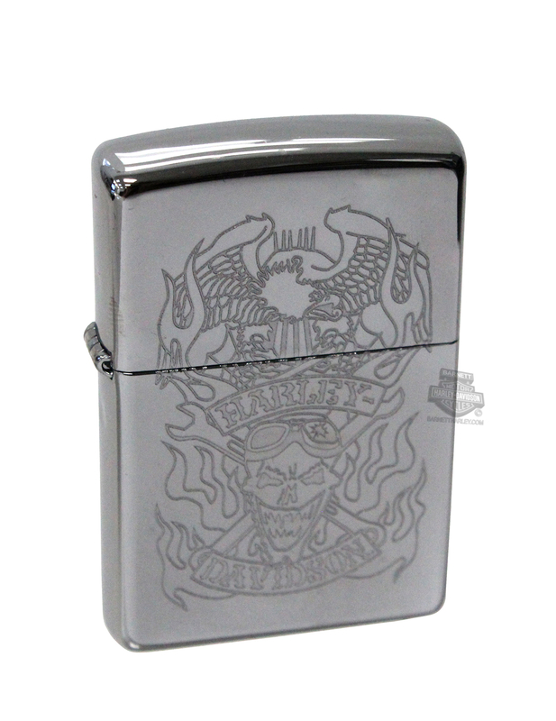 Harley-Davidson® Mens Skull Flames with Eagle High Polish Chrome Zippo Lighter