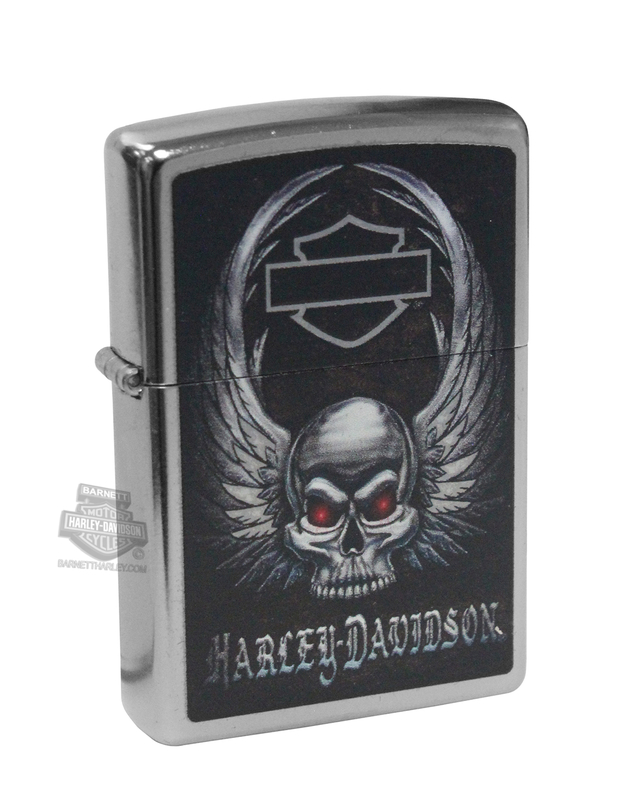 Harley-Davidson® Mens Winged Skull with B&S Street Chrome™ Zippo Lighter