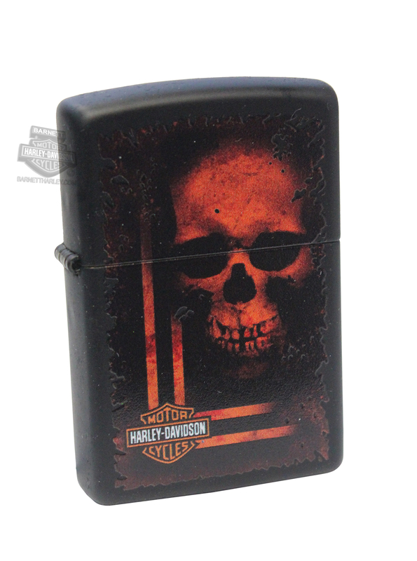 Harley-Davidson® Mens Skull with B&S Matte Black Zippo Lighter