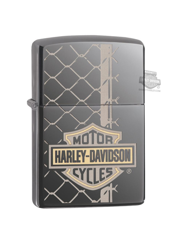 Harley-Davidson® B&S Fence Black Ice® Laser Engrave Zippo Lighter