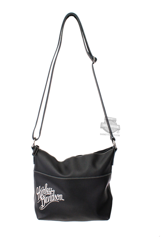 bbf0ae70f8 Harley Davidson Womens H D Name Embroidered Bucket Black Leather Purse.  Bart Harley Davidson Bags Purses