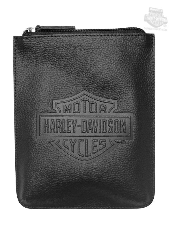 Harley-Davidson® Womens B&S Embossed On The Go Convertible Crossbody Black Leather Purse