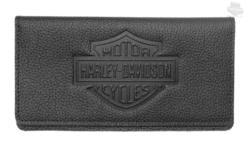Harley-Davidson® Womens B&S Embossed Black Leather Checkbook Cover