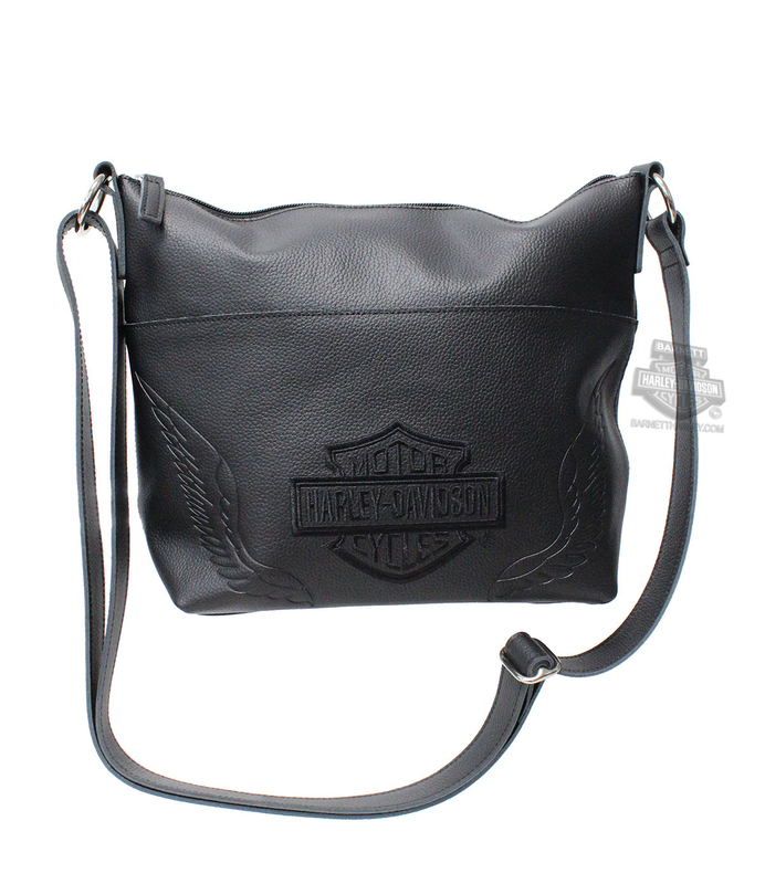 Harley Davidson Womens B S With Wings Embroidered Bucket Black Leather Purse