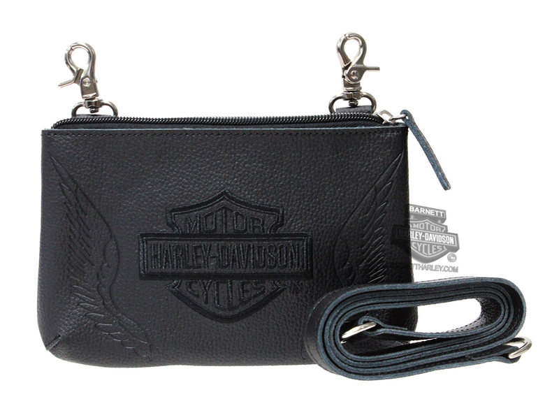 Harley-Davidson® Womens B&S with Wings Embroidered Black Leather Hip Bag